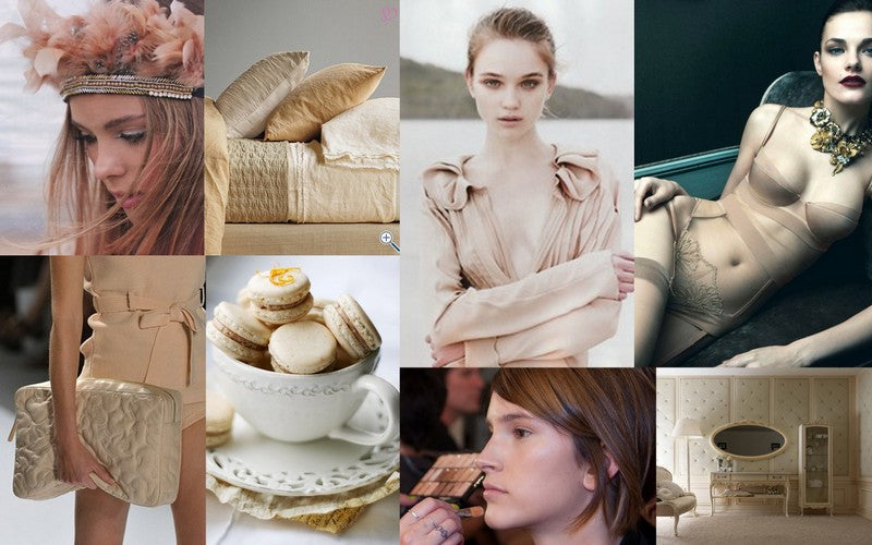 A collage of images featuring nude colors including fashion, home decor, beauty, and even food!