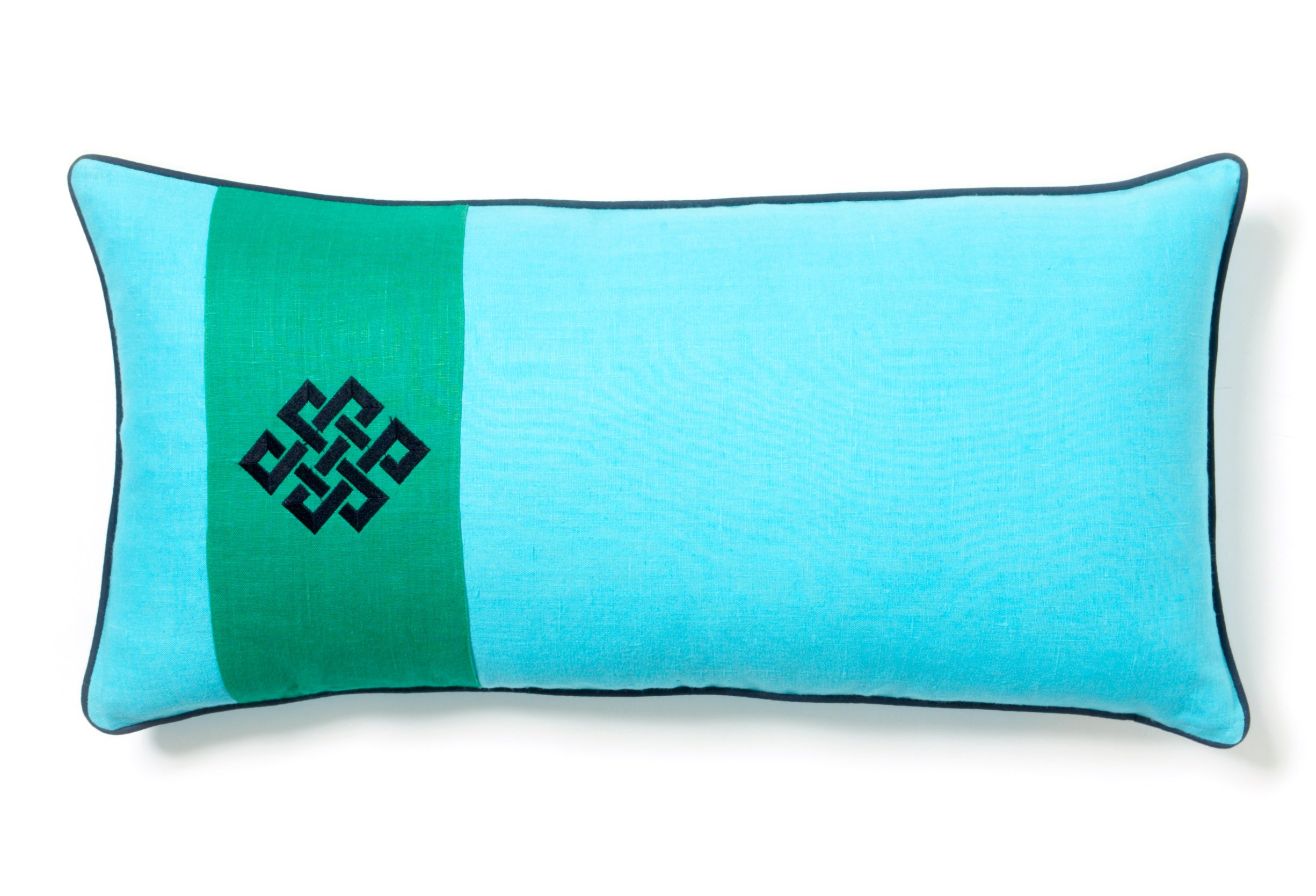 Aqua oblong pillow with a wide green stripe and navy accents