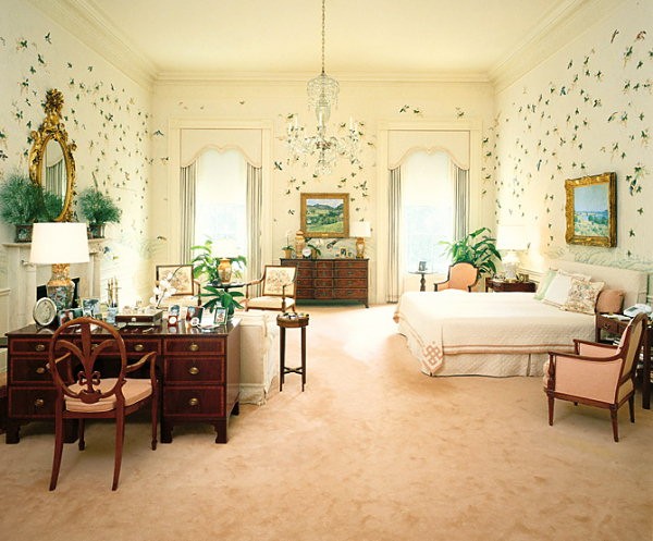 Ronald Reagan's White House bedroom in cream, pink and green