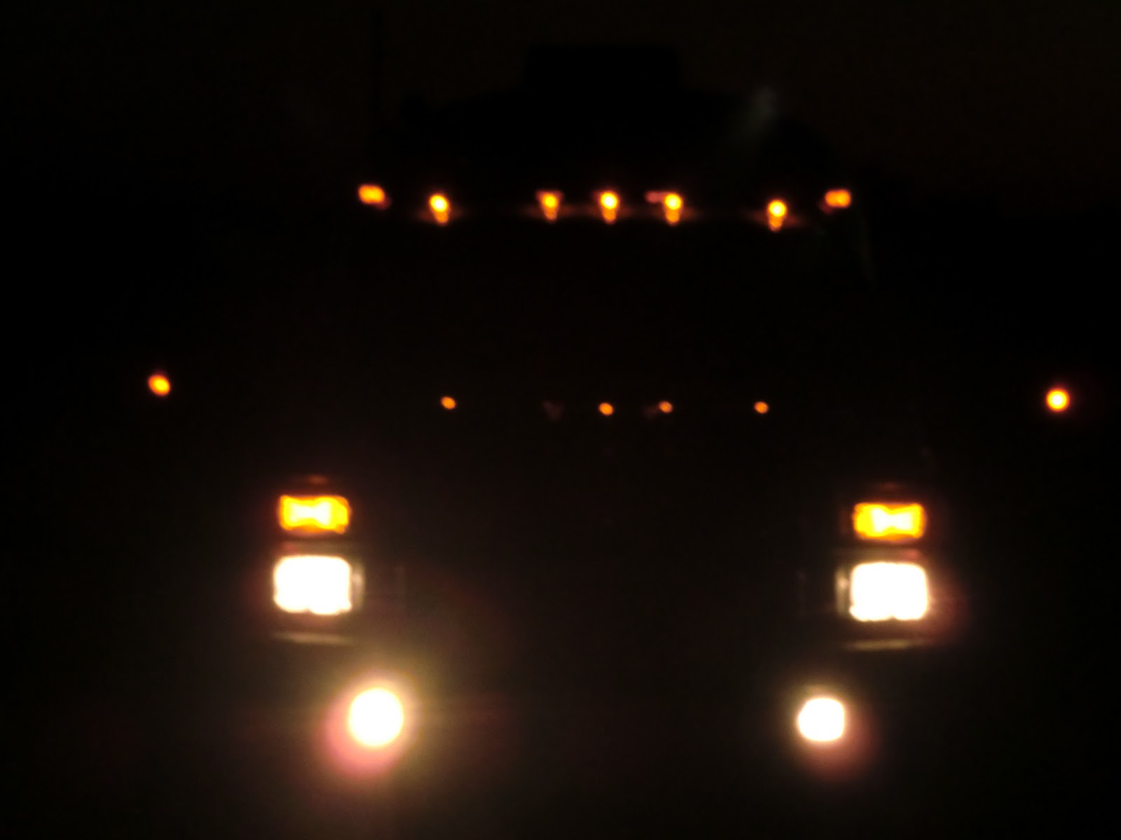 lights on a truck at night