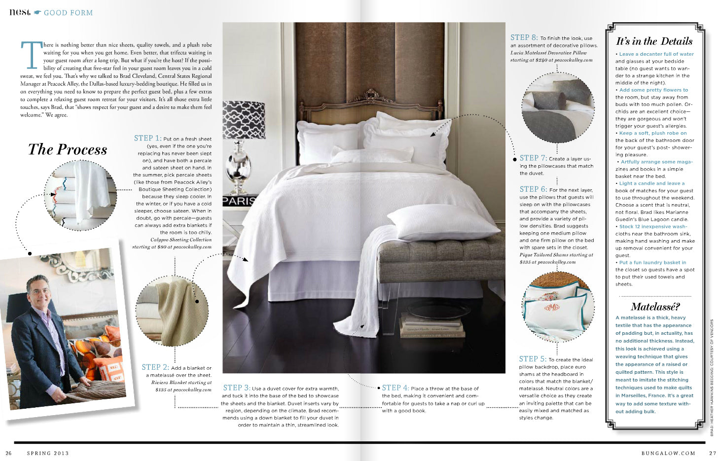Second and third page of Anatomy of a Guest Bed from the Spring 2013 issue of Bungalow