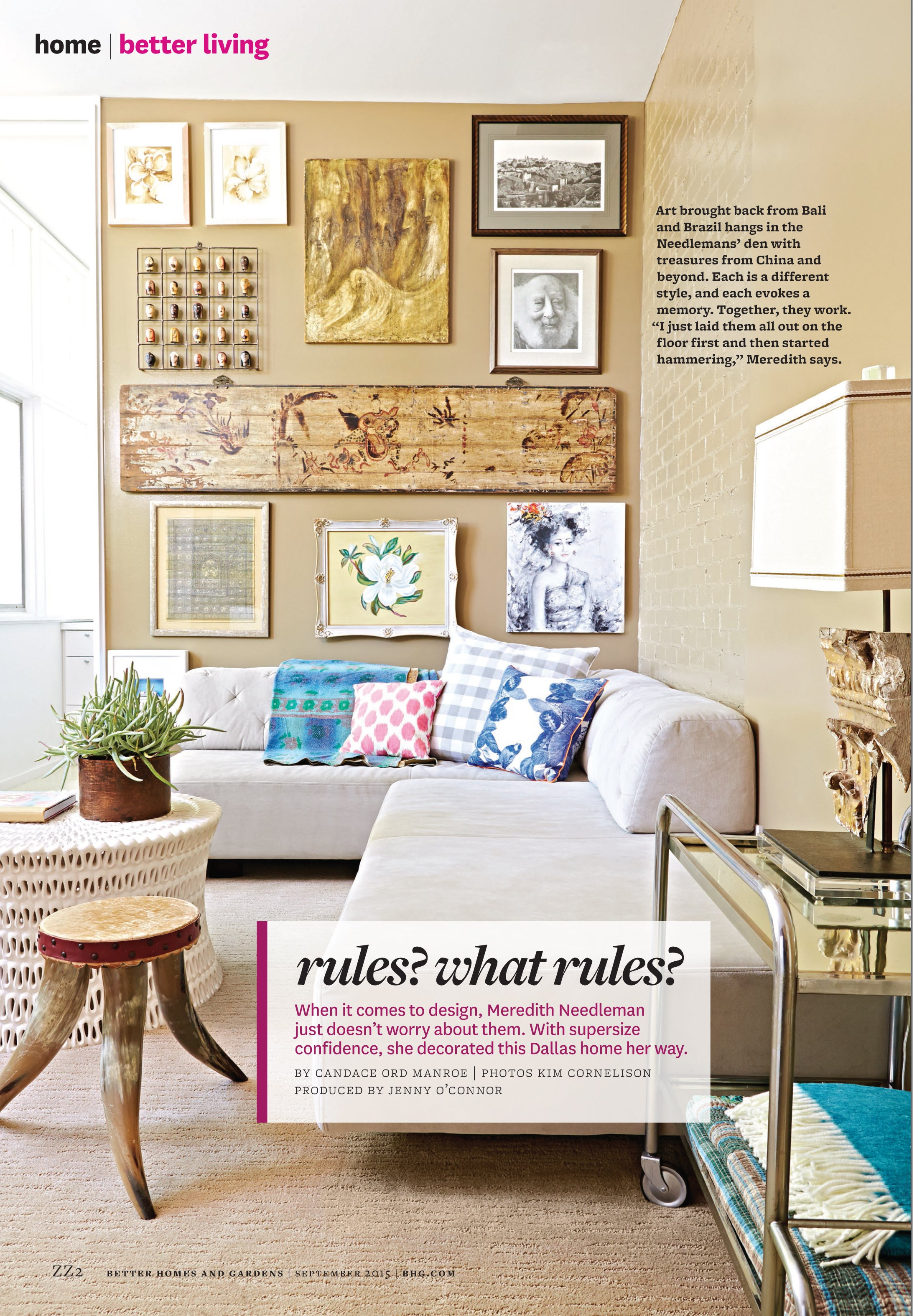 First page of Better Homes and Gardens article, collection of art and home decor items from around the world displayed in the Needleman home