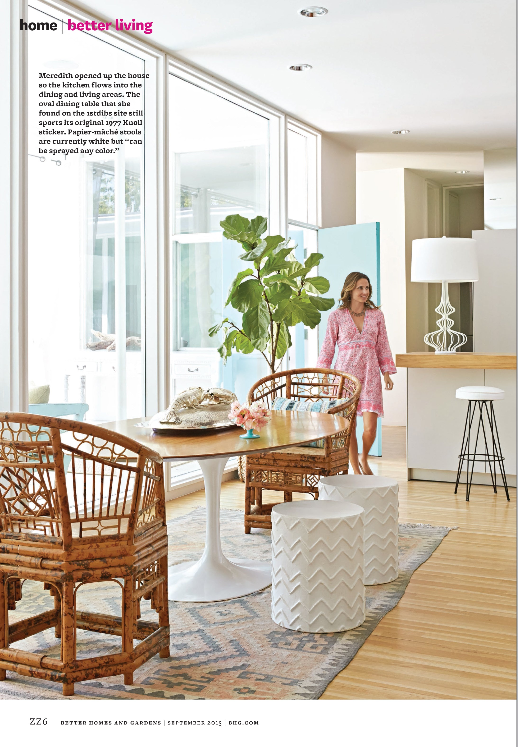 Fourth page of Better Homes and Gardens article, Meredith Needleman walking in from the pool area to the kitchen/dining area