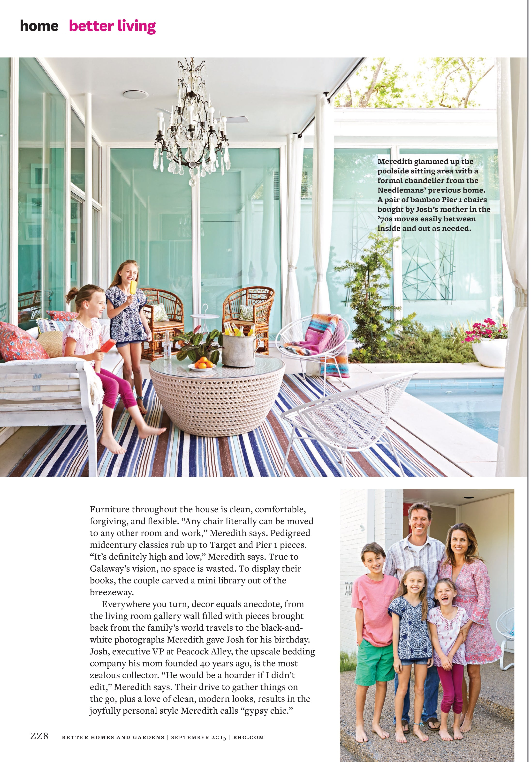 Fifth page of Better Homes and Gardens article, Needleman girls enjoying popsicles near the pool and portrait of the whole family