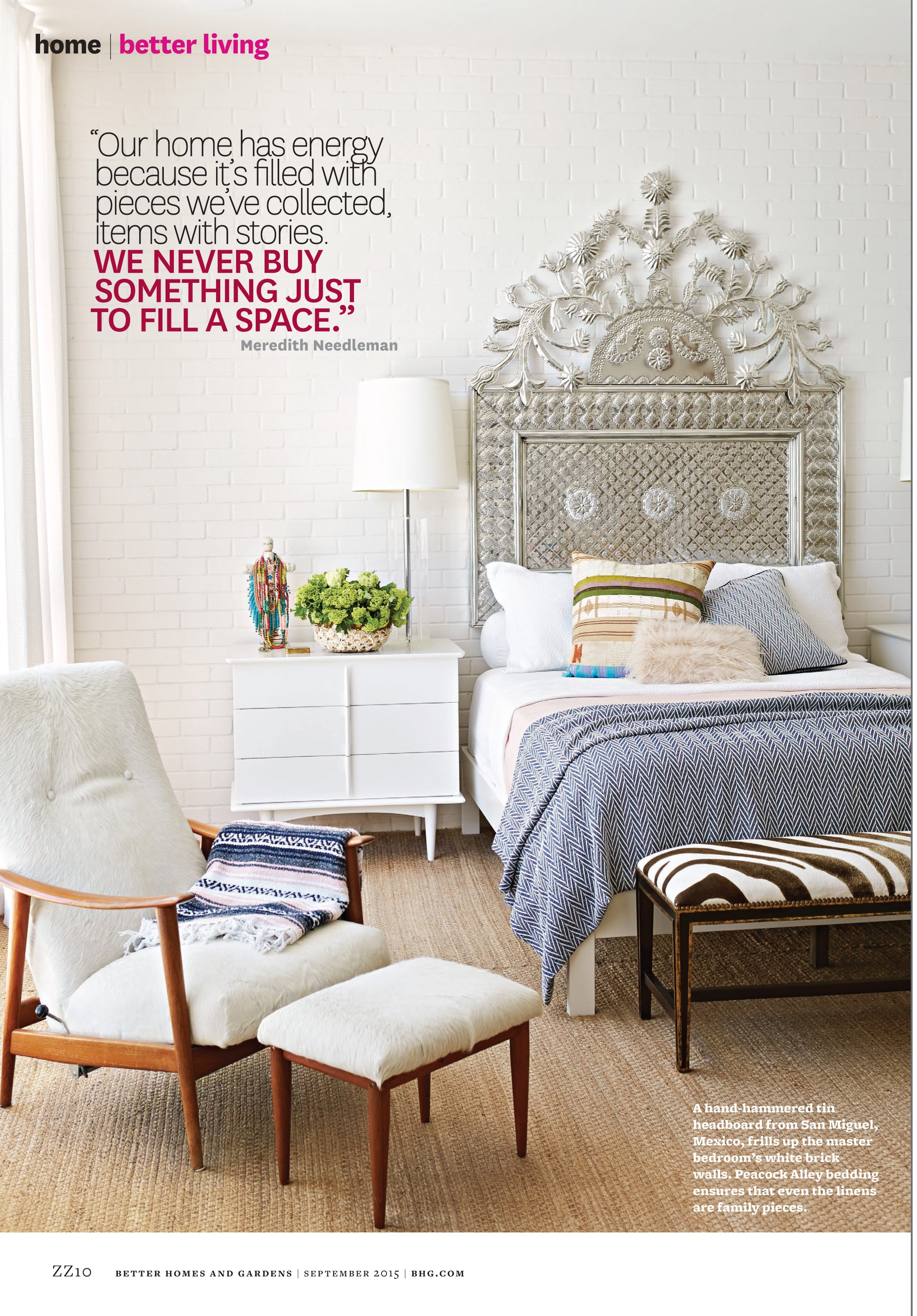 Sixth page of Better Homes and Gardens article, the master bedroom featuring Peacock Alley linens