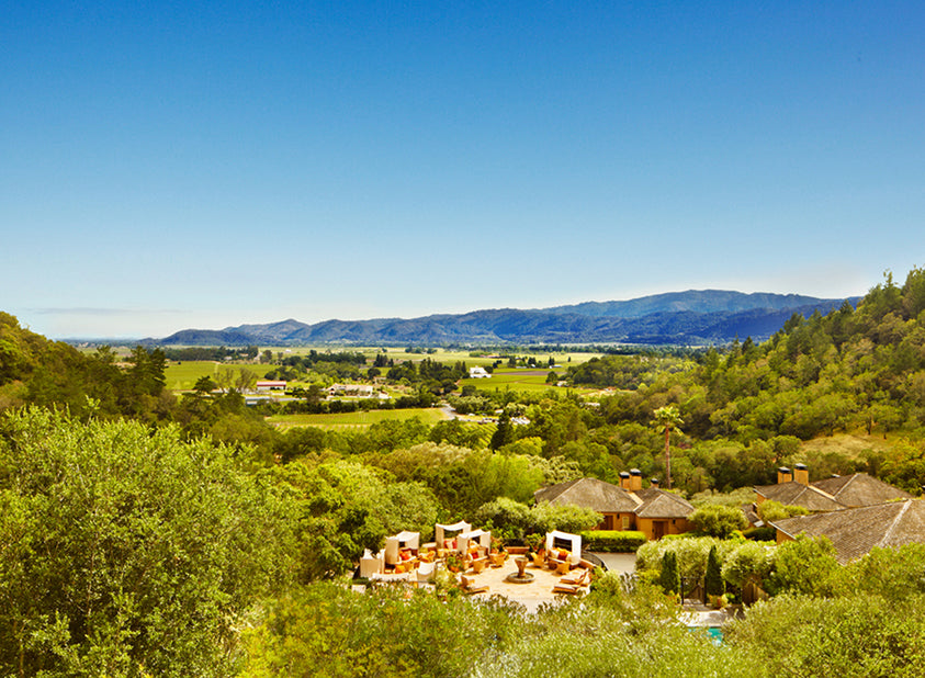 Landscape of the countryside surrounding Napa Valley's Auberge du Soleil