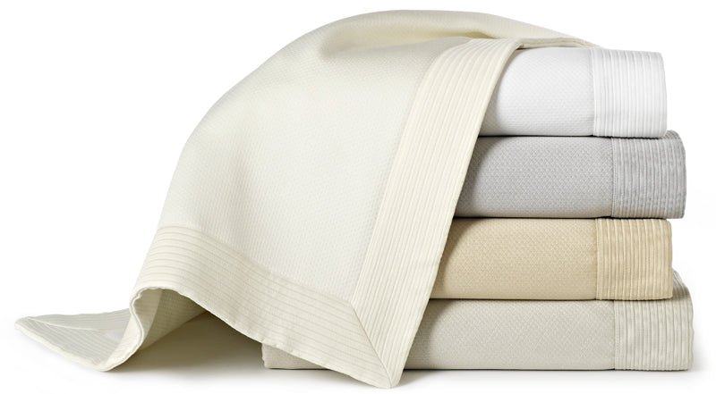 Classic and subtle matelassé coverlets in several muted, neutral colors