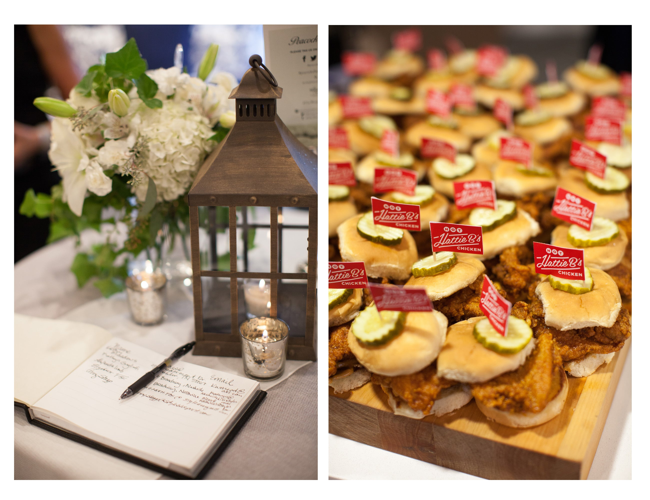 The guest book (left) and Hattie B's chicken sliders (right) at the Peacock Alley Nashville Opening