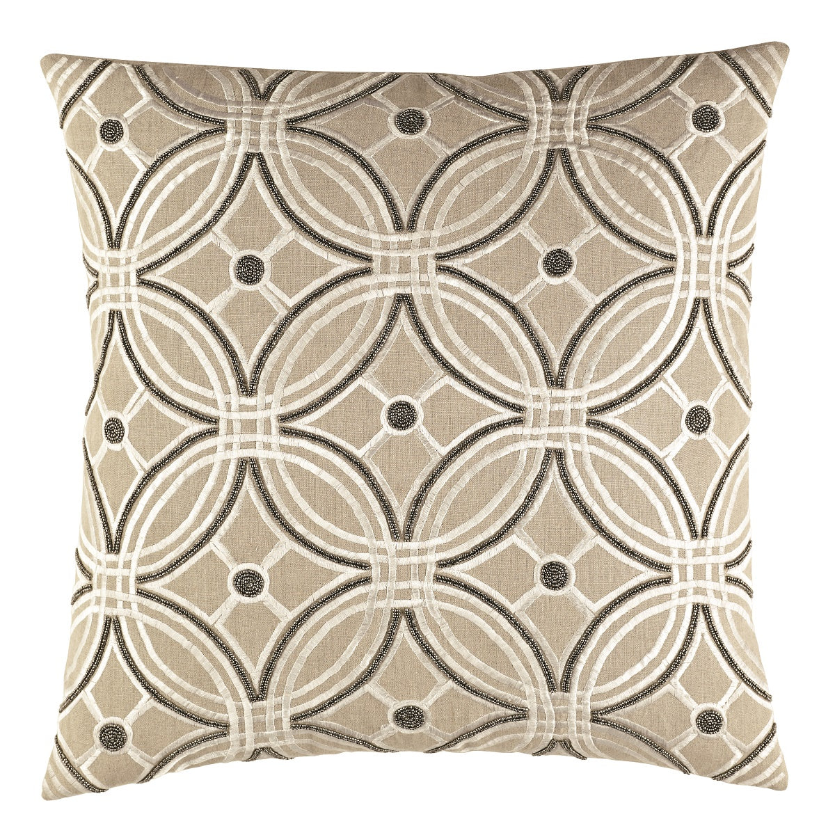 A modern decorative pillow with an embroidered pattern and bead work