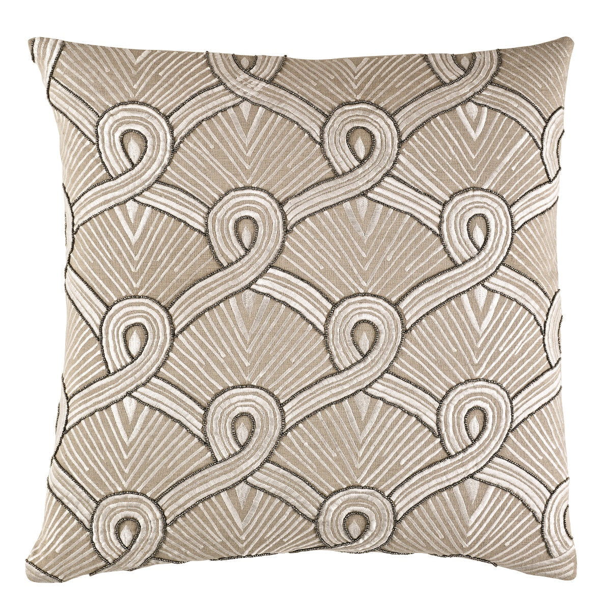 A decorative pillow with an art deco flair