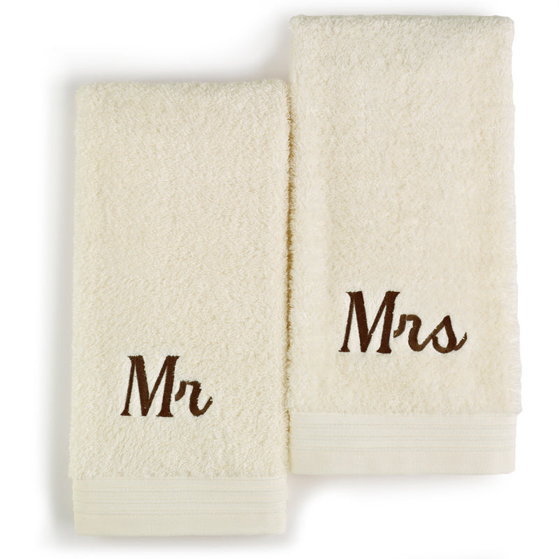 Ivory colored towels embroidered with Mr and Mrs