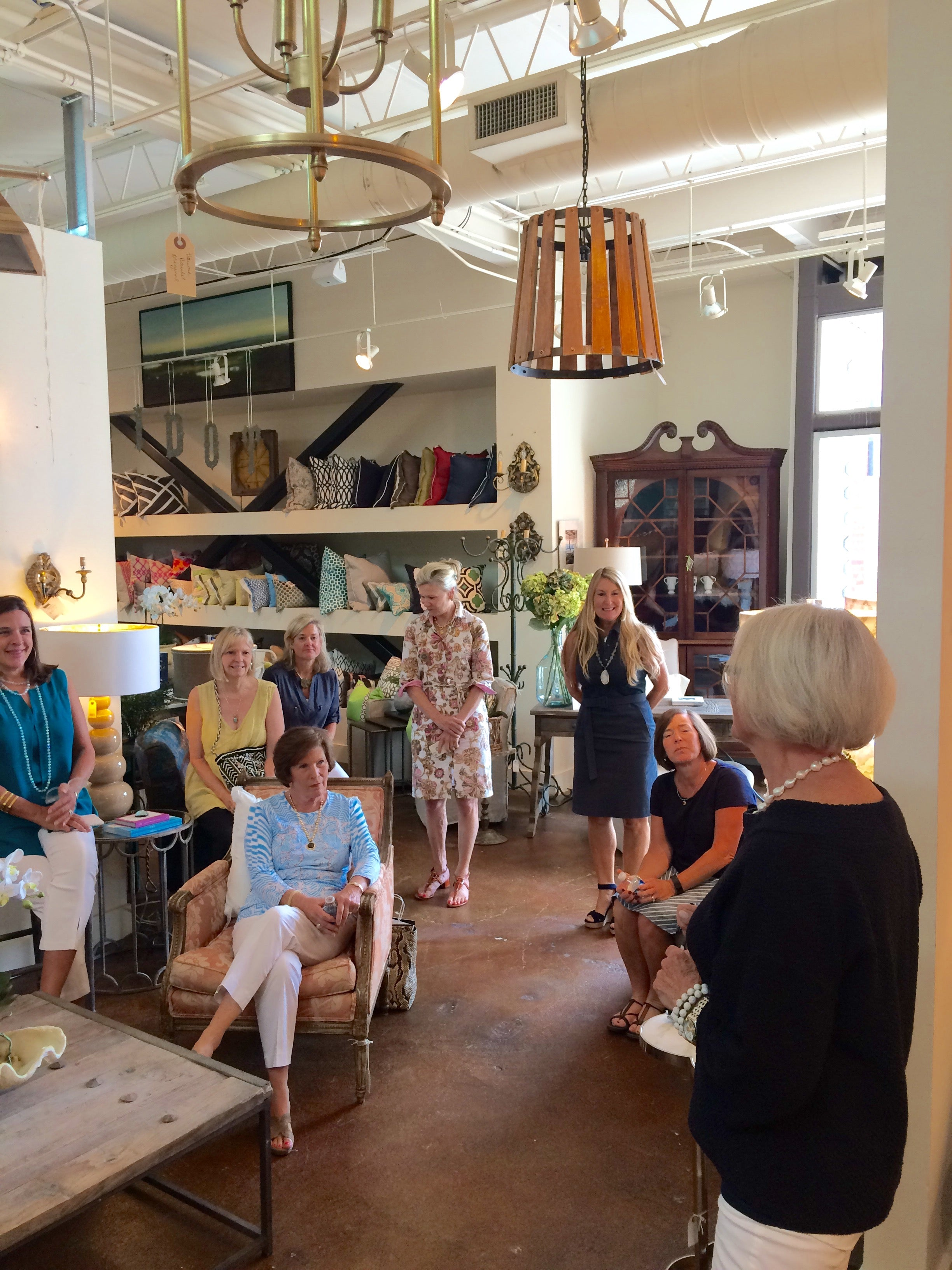 Peacock Alley founder Mary Ella Gabler speaking to guests at Peridot West in Atlanta