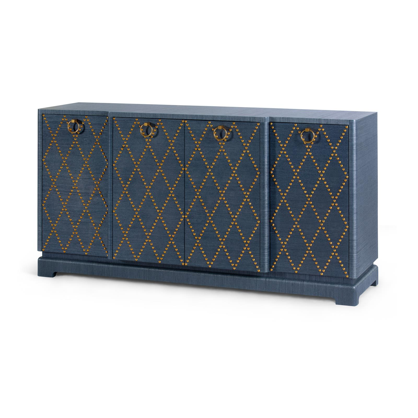 Cabinet in navy with brass nailhead diamond pattern
