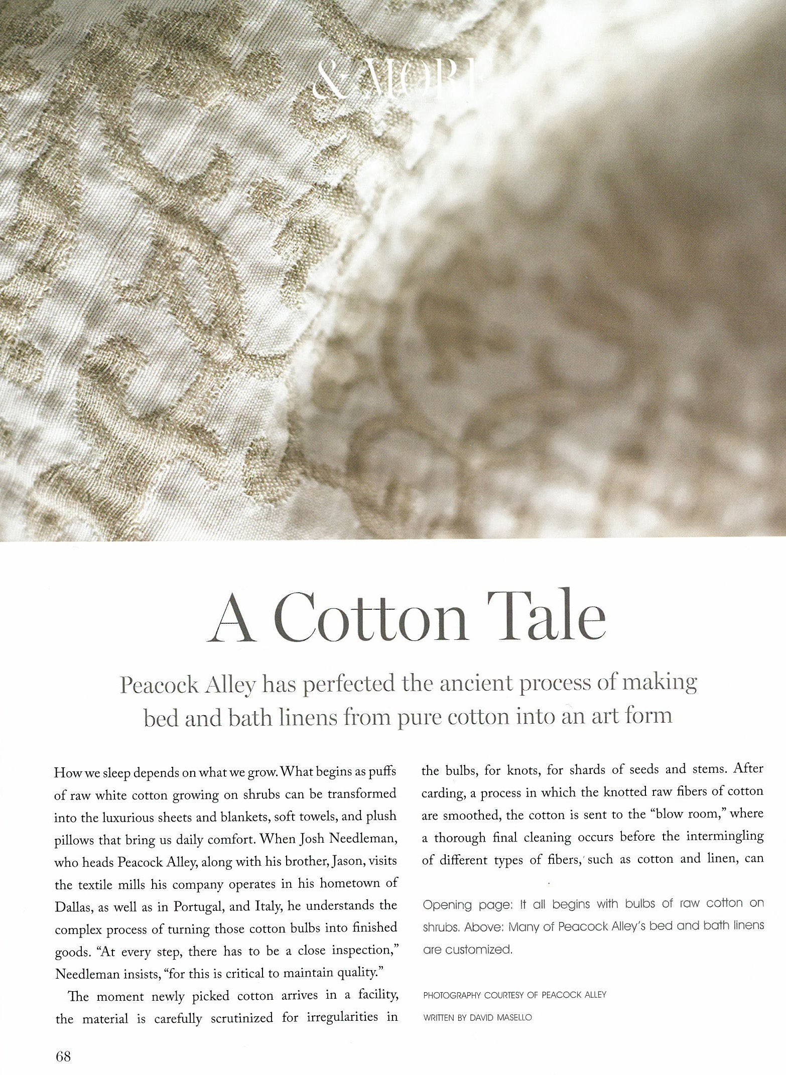 Page one of Milieu article, A Cotton Tale