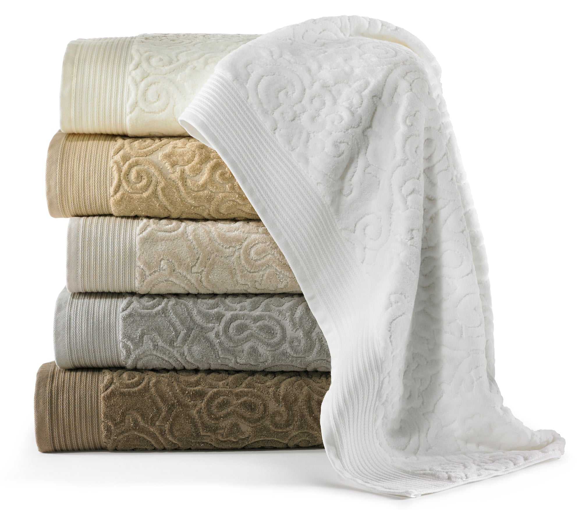 Plush bath towels in a modern velour jacquard with a swirling texture