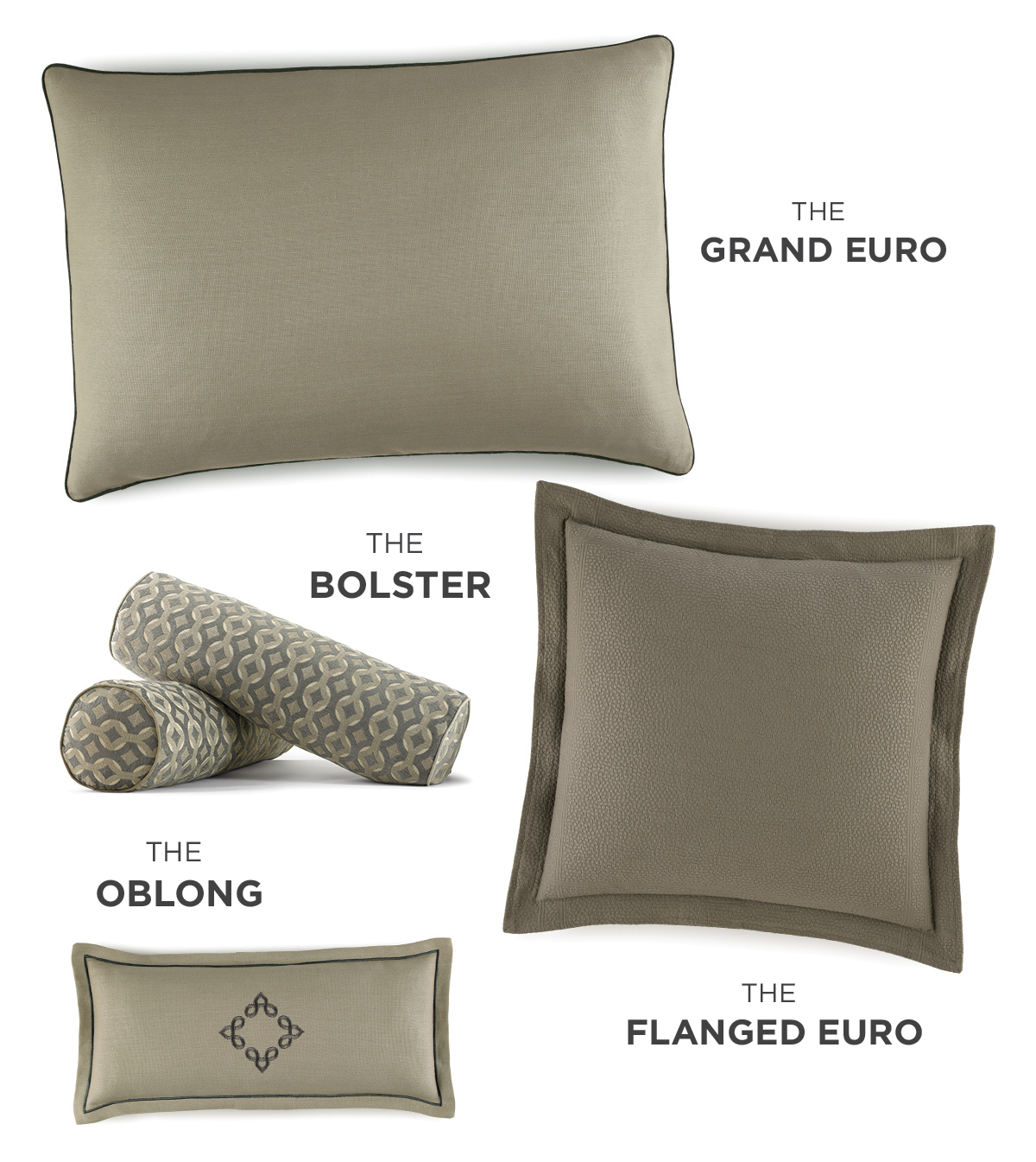 A guide to several sizes of Peacock Alley decorative pillows