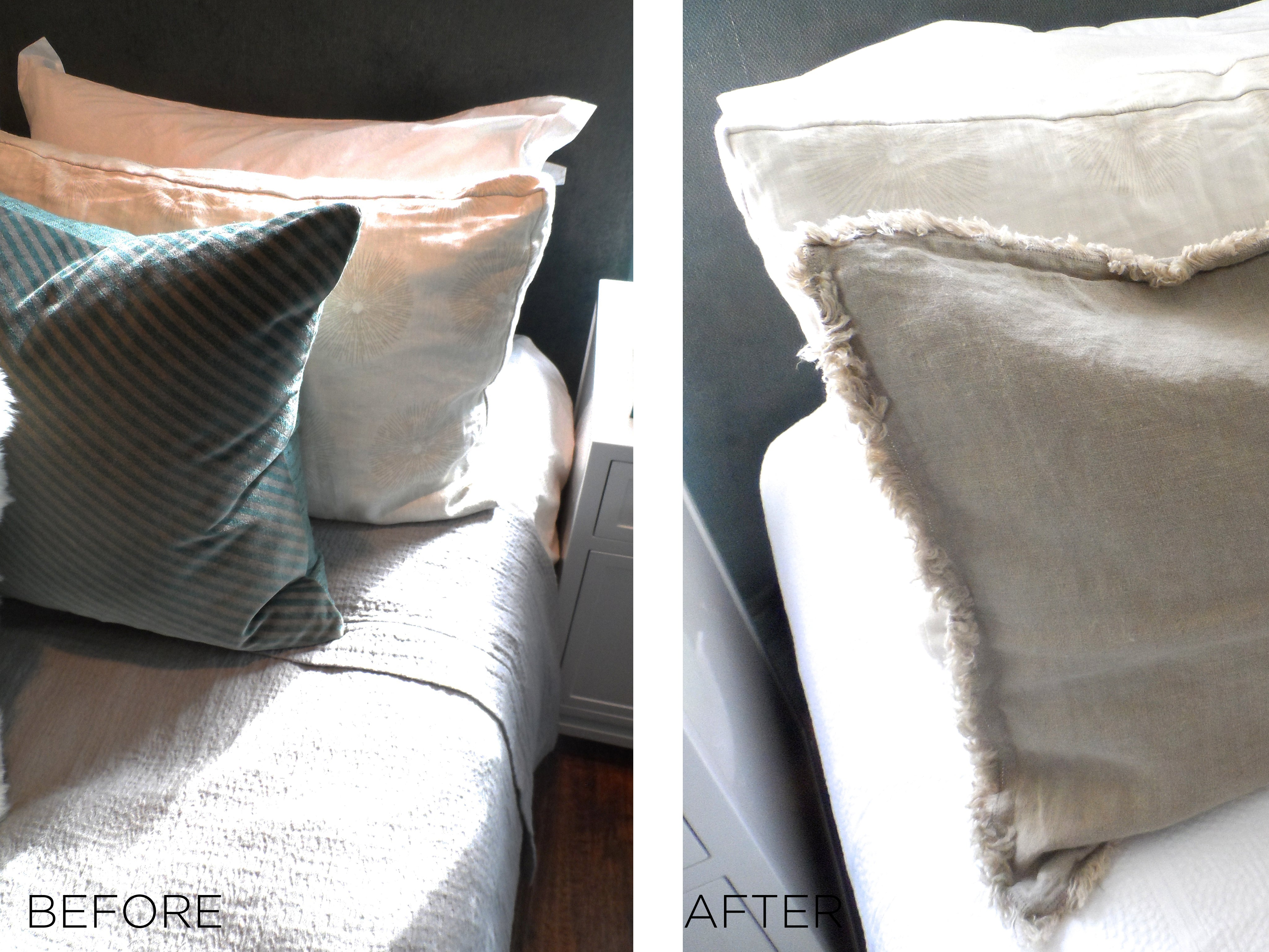 Before and after shots of pillow sham changes