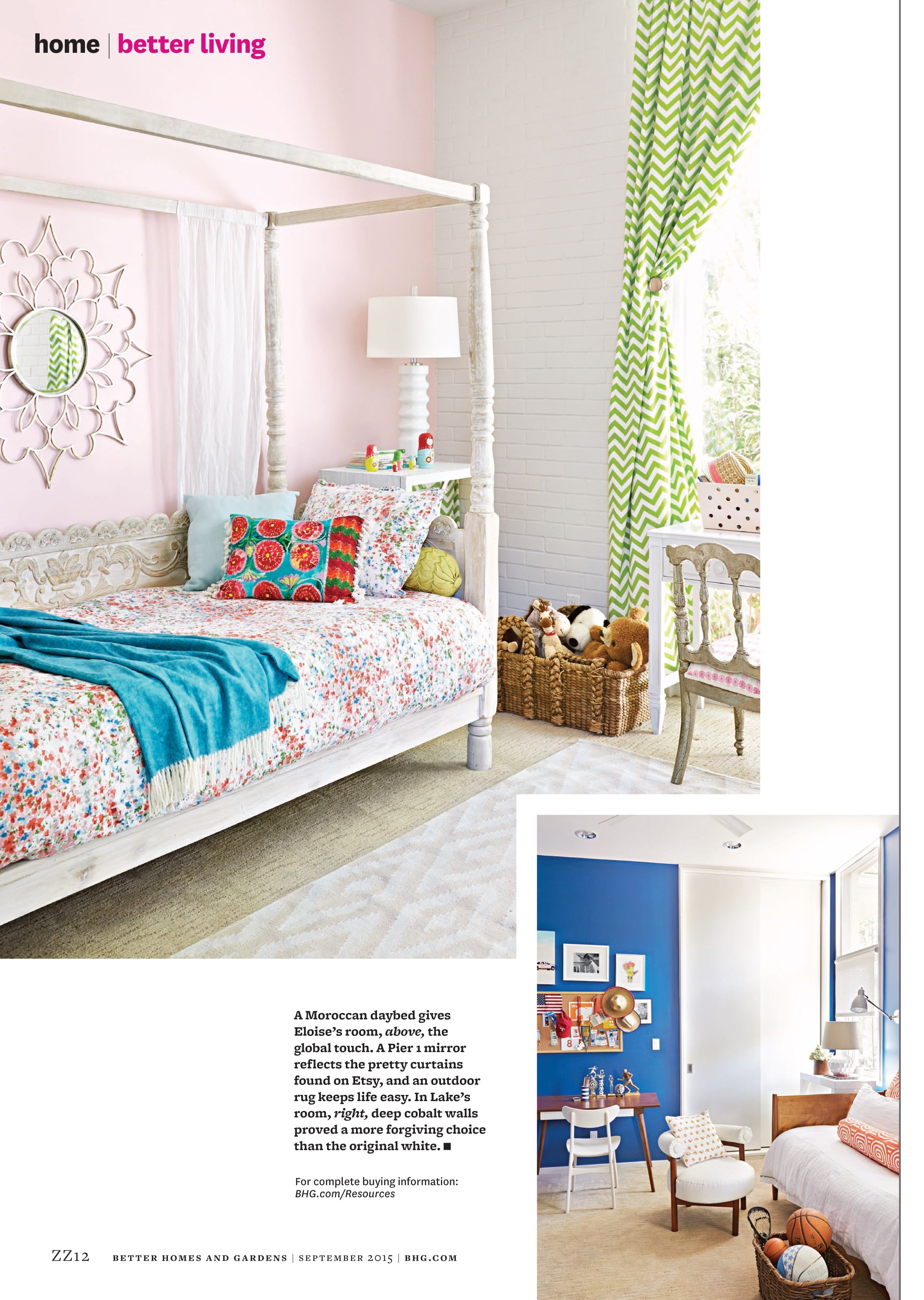 Seventh page of Better Homes and Gardens article, two of the children's rooms