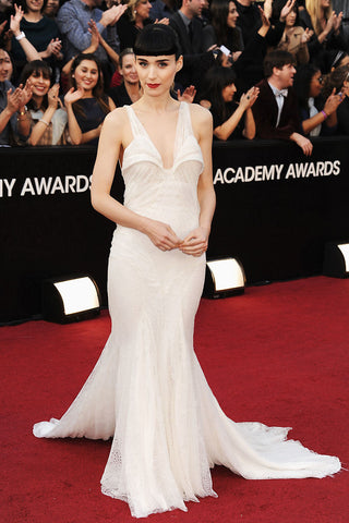 Rooney Mara in her plunging white Givenchy Haute Couture at the 2012 Oscars