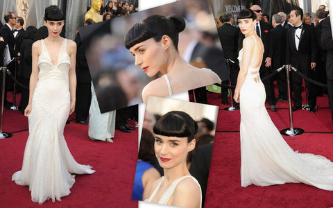 Collage of Rooney Mara in her plunging white Givenchy Haute Couture at the 2012 Oscars