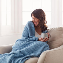 Load image into Gallery viewer, woman wrapped in blue faro throw blanket