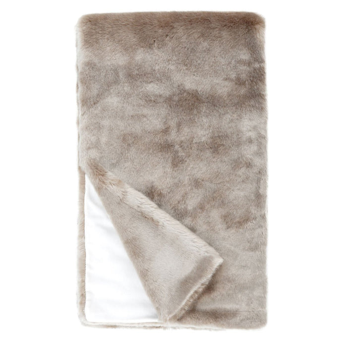 Faux fur throw blanket in champagne color