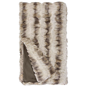 Faux fur throw blanket in truffle color