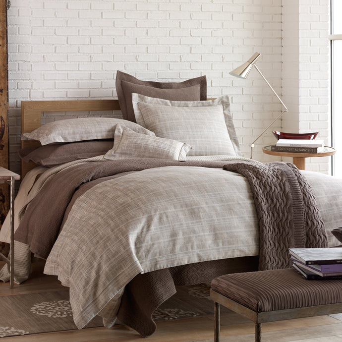 Italian jacquard duvet cover and shams in linen color