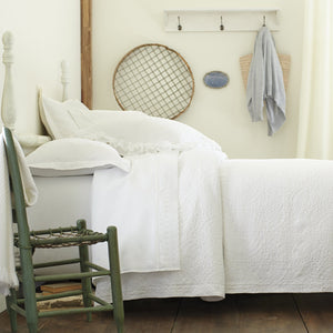 European medallion matelasse coverlet and shams in white