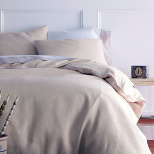 Mandalay linen duvet cover and shams blush