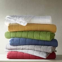 Load image into Gallery viewer, Stack of 4 Square Quilted Coverlets in Various Colors