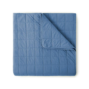 4 Square Denim Blue Quilted Coverlet