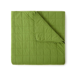 4 Square Olive Green Quilted Coverlet
