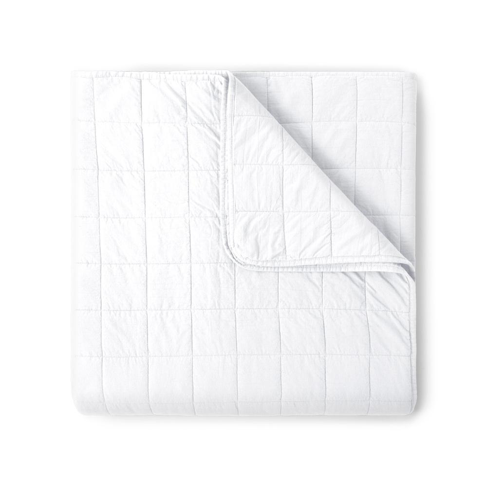 4 Square White Quilted Coverlet