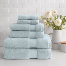 Load image into Gallery viewer, stacked Turkish Cotton 6-Piece Towel Set in glacier