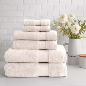 stacked Turkish Cotton 6-Piece Towel Set in ivory