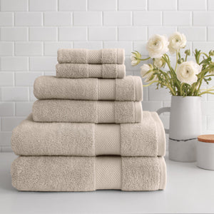 stacked Turkish Cotton 6-Piece Towel Set in linen
