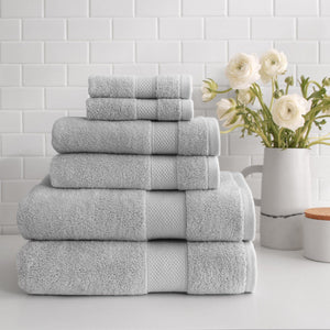 stacked Turkish Cotton 6-Piece Towel Set in pewter