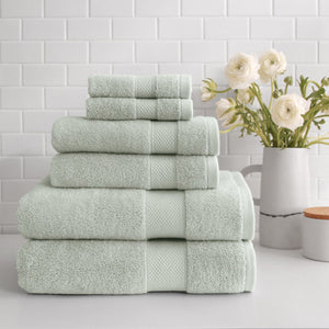 stacked Turkish Cotton 6-Piece Towel Set in sage