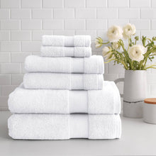 Load image into Gallery viewer, stacked Turkish Cotton 6-Piece Towel Set in white