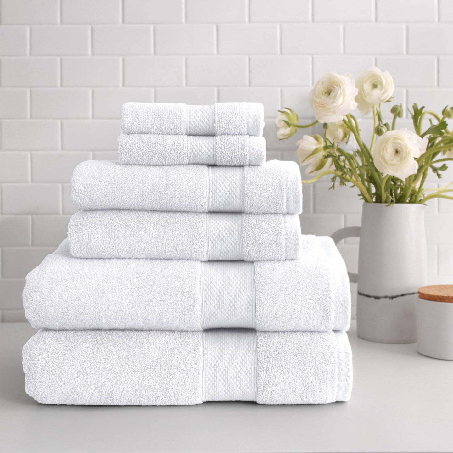 stacked Turkish Cotton 6-Piece Towel Set in white