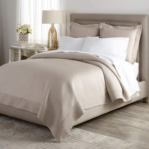 Neutral bedroom with Angelina Matelasse coverlet and shams