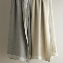 Load image into Gallery viewer, Hanging italian menswear inspired blanket in flint and linen colors