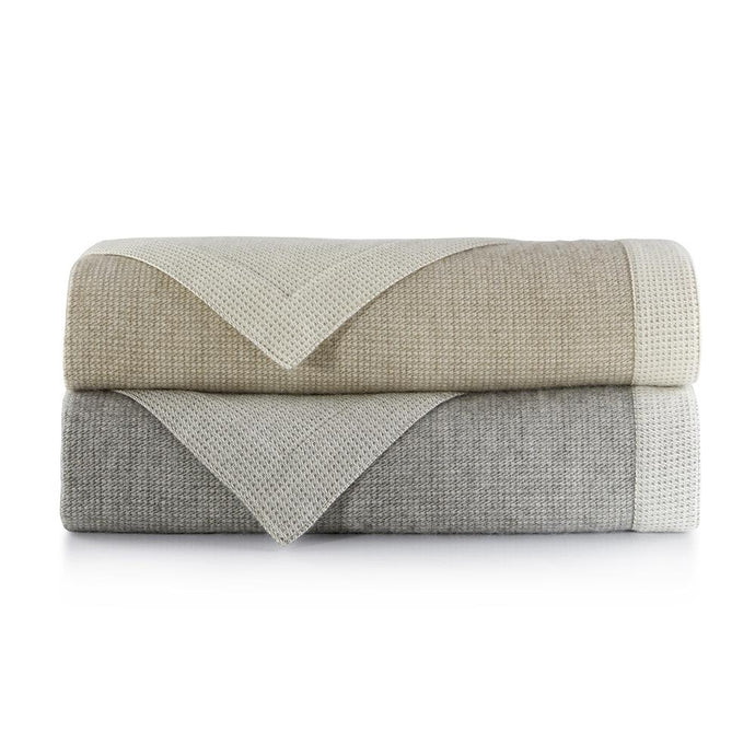 Stack of italian menswear inspired blanket in flint and linen colors