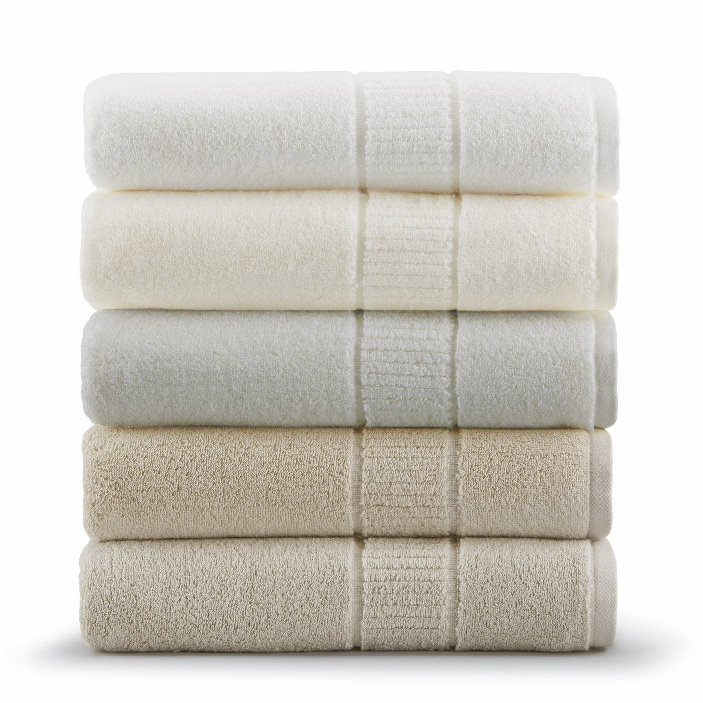 Zero twist cotton bath towel collection in white, ivory, linen, and flint