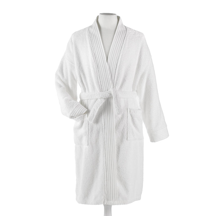 white bamboo bath robe on mannequin