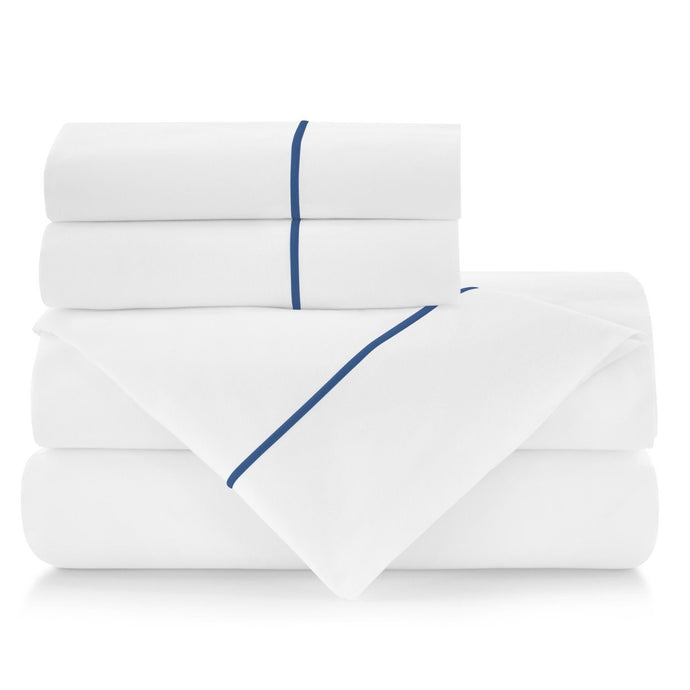 Boutique sheet set stacked indigo embroidery