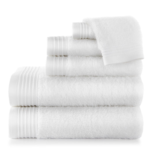 White Bamboo Bath Towel Stack