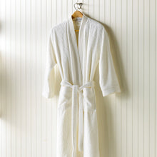 Load image into Gallery viewer, white bamboo bath robe on hanger