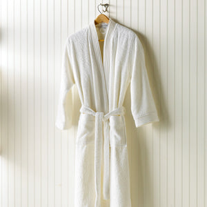 white bamboo bath robe on hanger